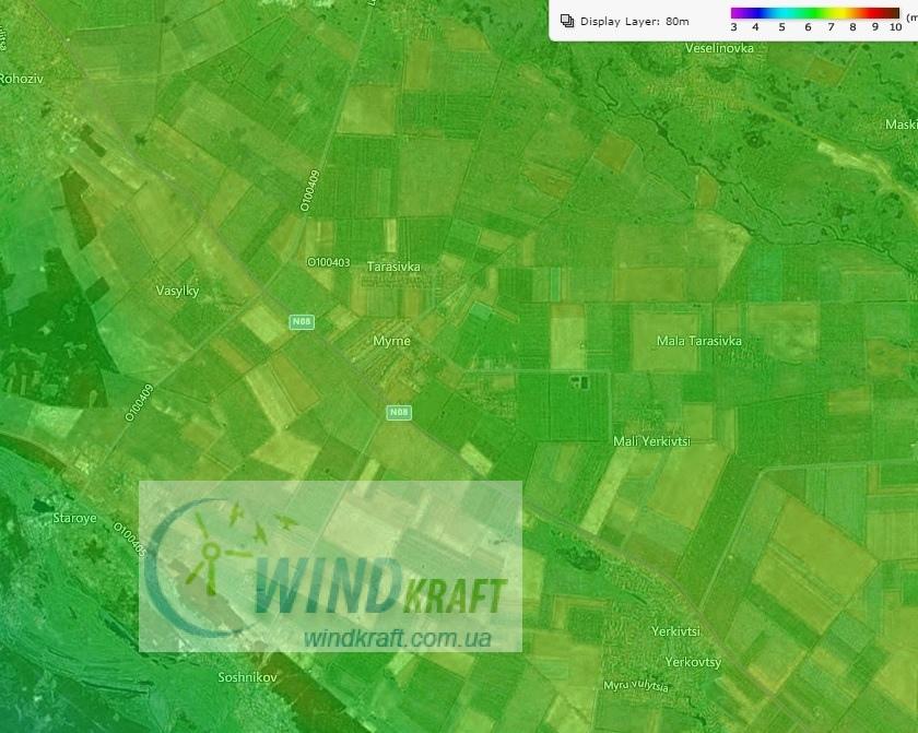 Данные о среднегодовой скорости ветра